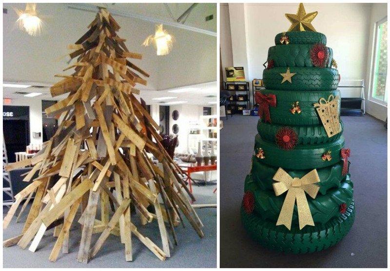 Как сделать новогоднюю елку из необычных материалов