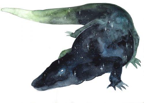 """""""Галактические"""" животные в акварельных рисунках Threeleaves (9 фото)"""