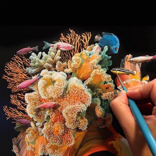 Гиперреалистичные рисунки рыбок Лизы Эриксон (9 фото)