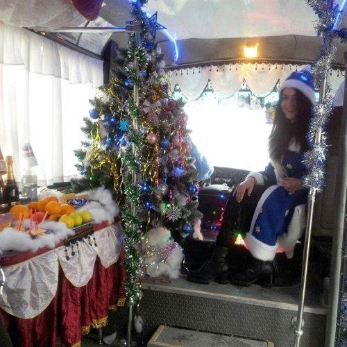 По улицам Новороссийска ездит новогодняя маршрутка с Дедом Морозом и Снегурочкой (5 фото)