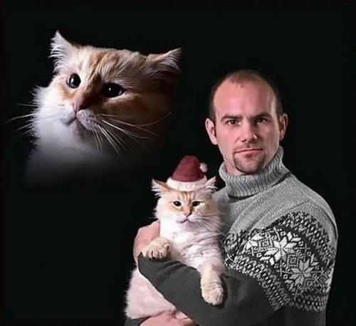 Причудливые старые фотографии мужчин, позирующих с кошками (24 фото)