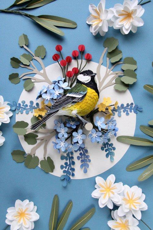 Удивительные 3-д птицы из бумаги поселились прямо на почтовых марках