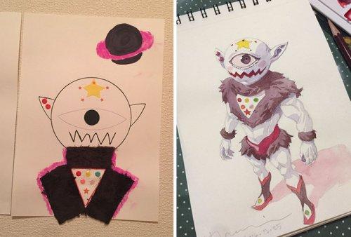 Отец превращает рисунки сыновей в аниме-персонажей (5 фото)