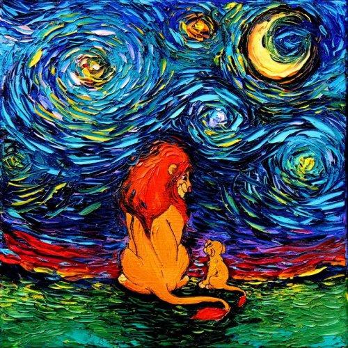 """Художница создала серию картин в стиле """"Звёздной ночи"""" Ван Гога (18 фото)"""