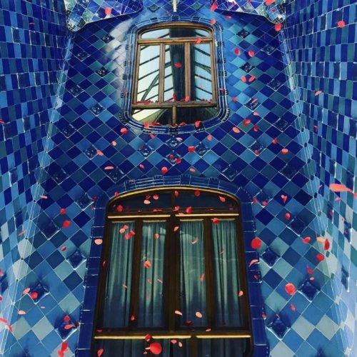 """Украшенный розами """"Дом костей"""" в Барселоне (5 фото)"""