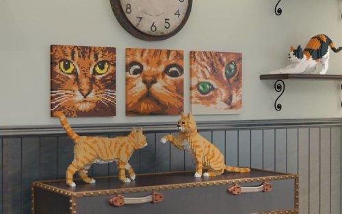 Скульптуры кошек из LEGO (26 фото)