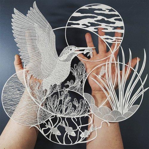 Художественные шедевры, вырезанные из бумаги (16 фото)