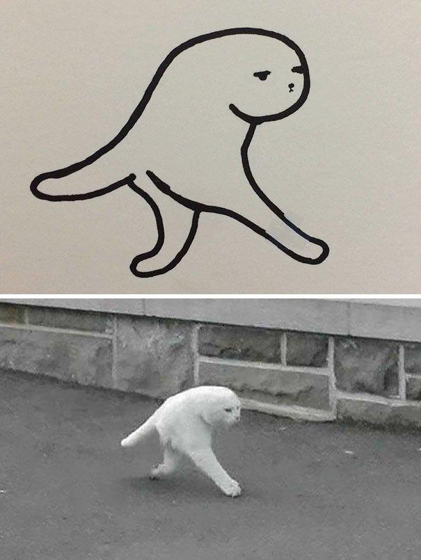 Плохо нарисованные кошки, которые очень похожи на настоящих (25 фото)