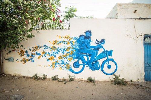 Тунисская деревня Эрриад, превращённая в художественную стрит-арт галерею (23 фото)