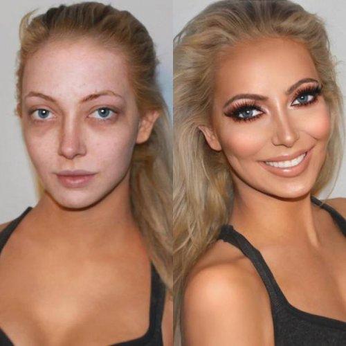 Невероятное преображение: снимки до и после нанесения макияжа (16 фото)