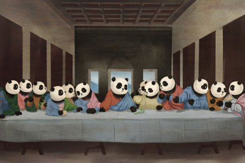 Панды на полотнах известных классических картин (23 фото)