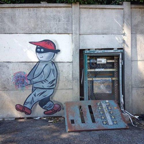Прикольный стрит-арт со всего мира (36 фото)