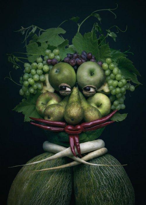 Необычные портреты из овощей и фруктов от Анны Токарской (8 фото)