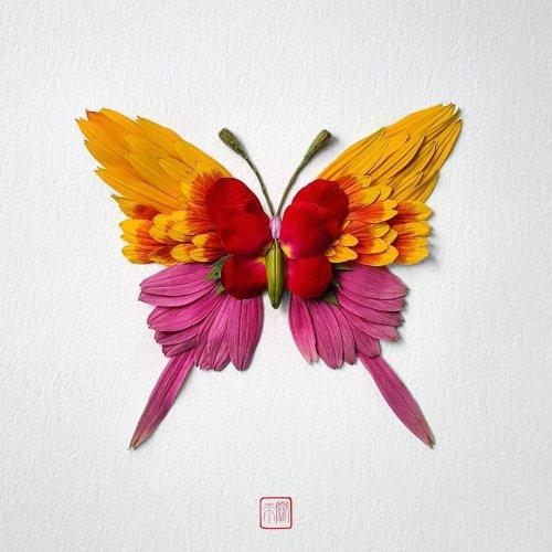 Цветочные насекомые, созданные художником Раку Иноуэ (10 фото)