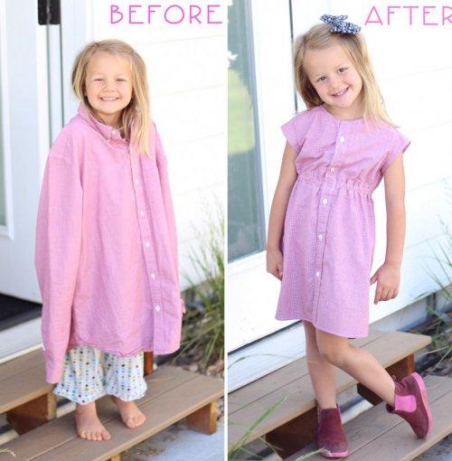 Старые отцовские рубашки превращаются в новые наряды для дочерей (8 фото)