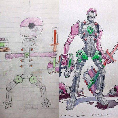 Детские рисунки, превращённые в аниме-персонажей (21 фото)