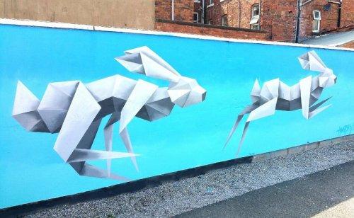 Геометрические рисунки животных, вдохновлённые оригами (7 фото)