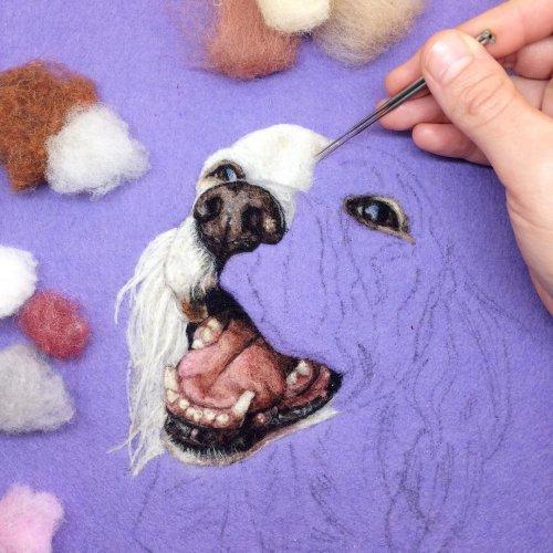 Невероятно реалистичная войлочная вышивка художницы Дани Айвс (8 фото)