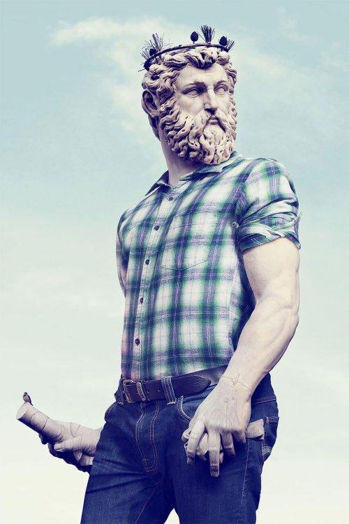 """""""Хипстеры в камне"""": художник Лео Кайяр продолжает превращать классические скульптуры в хипстеров (14 фото)"""