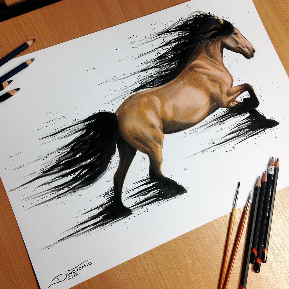 Как нарисовать лошадь фломастерами