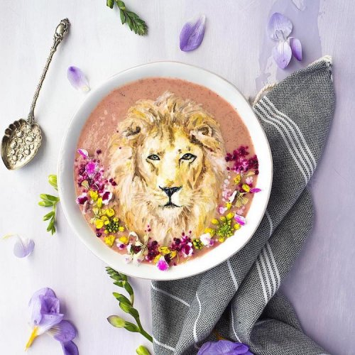 Художница-любитель по оформлению еды украшает чашки со смузи, используя только натуральные ингредиенты (9 фото)