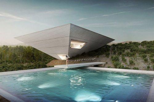 Дом в виде перевёрнутой пирамиды в восточной Испании (5 фото)