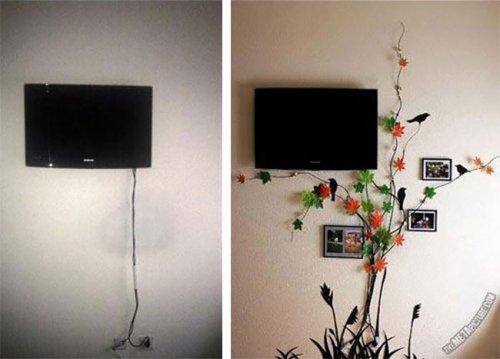 Креативные идеи оригинального оформления проводов на стене (16 фото)