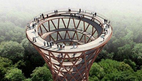 Уникальная спиралевидная аллея, открывающая вид на лес с высоты птичьего полёта, строится в Дании (11 фото)
