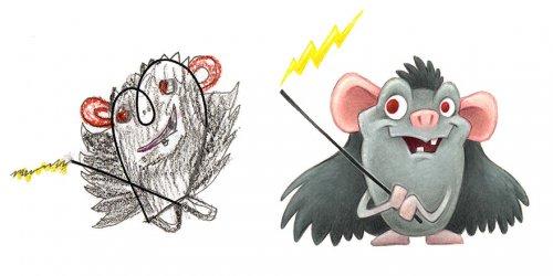 Художник перерисовал детские рисунки с монстрами, и вот что из этого получилось (29 фото)