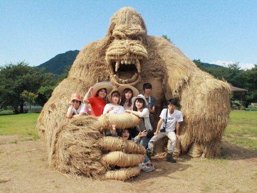 Соломенные скульптуры на фестивале Wara Art Festival в Японии (8 фото)
