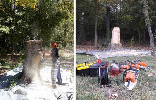 Ведро с льющейся из него водой, вырезанное из дерева бензопилой (7 фото)