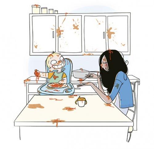 Правдивые комиксы Натали Жомар о жизни с маленькими детьми (19 фото)