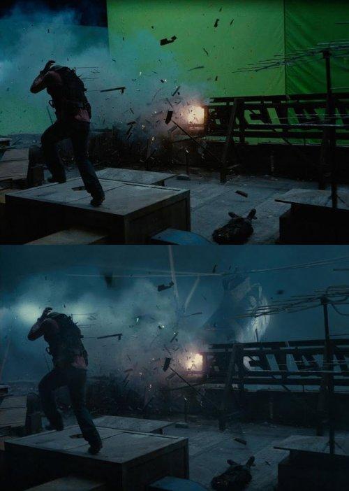 Популярные фильмы до и после добавления спецэффектов (21 фото)
