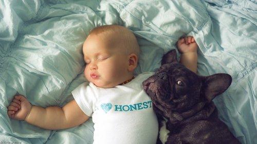 Родившиеся в один день малыш и щенок стали лучшими друзьями (7 фото)
