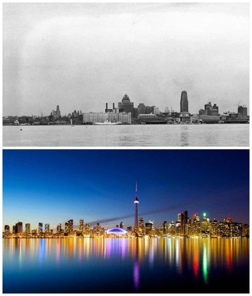 Впечатляющие фотографии крупных городов тогда и сейчас (10 фото)
