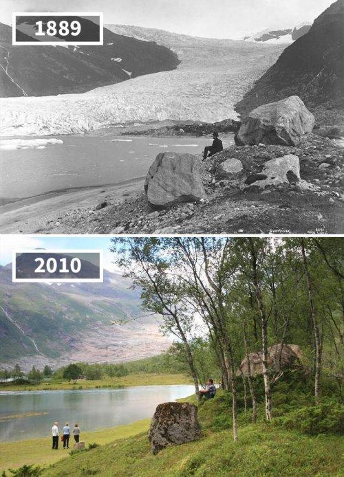 """Фотографии """"тогда и сейчас"""", показывающие, насколько мир изменился со временем (16 фото)"""
