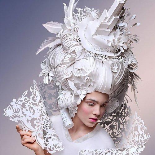 Бумажные парики в стиле барокко от Аси Козиной (15 фото)