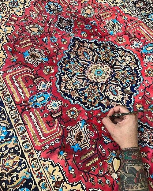 Художник создает картины, которые выглядят как персидские ковры (5 фото)