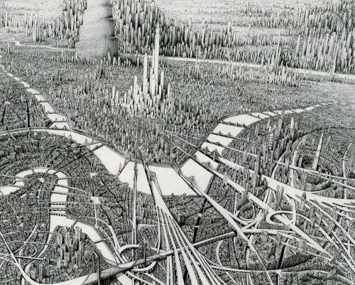 Бесконечность небоскрёбов в иллюстрациях Бенджамина Сэка (8 фото)
