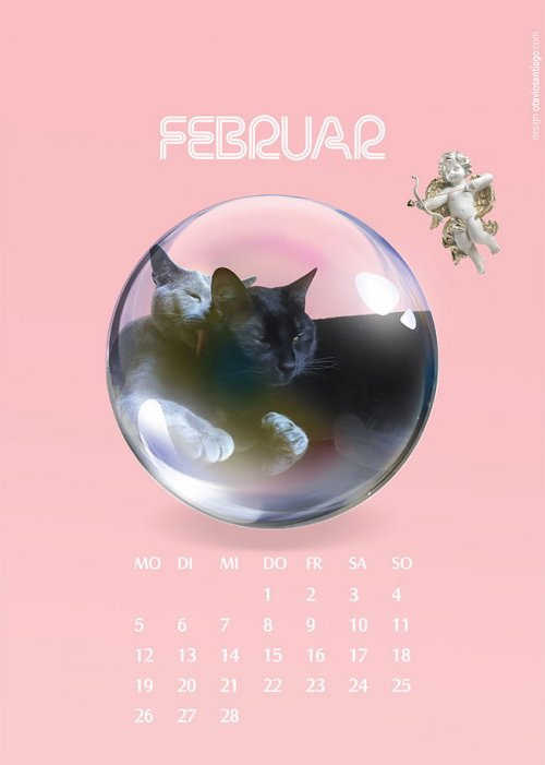 "Календарь ""Две кошки"" на 2018-й год от Отавио Сантьяго (12 фото)"