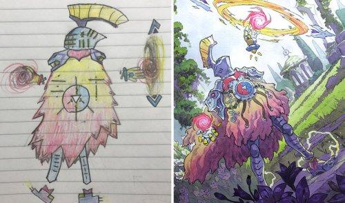 Художник превращает рисунки сыновей в аниме-персонажей (14 фото)