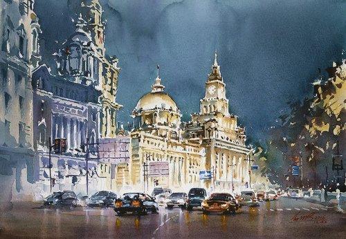 Зрелищные акварельные картины, изображающие красоту городов мира (22 фото)