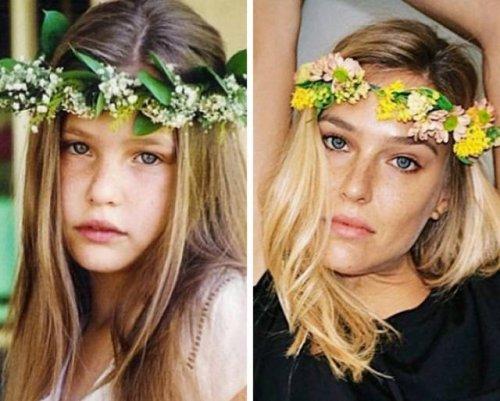 Знаменитые модели и актрисы в детстве и сейчас (24 фото)
