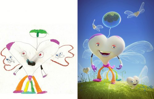 Профессиональные художники воссоздают детские рисунки в своём уникальном стиле (29 фото)