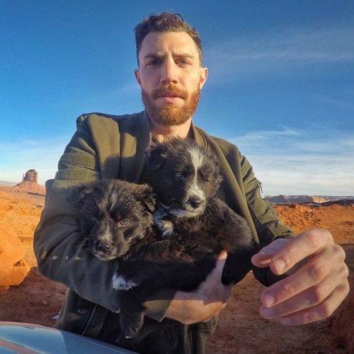Найденные посреди пустыни щенки теперь путешествуют со своим хозяином по всей стране (21 фото)