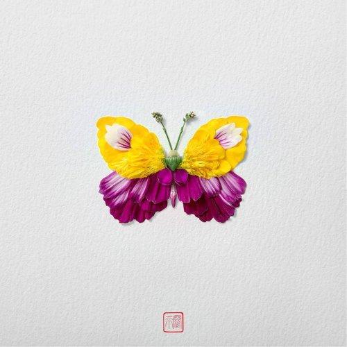 Цветочные бабочки, созданные художником Раку Иноуэ (13 фото)