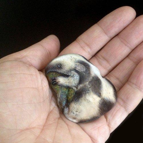 Художница рисует миниатюрных животных на камнях (12 фото)