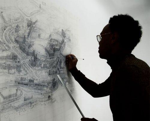 Художник рисует крупномасштабные детализированные городские пейзажи (11 фото)