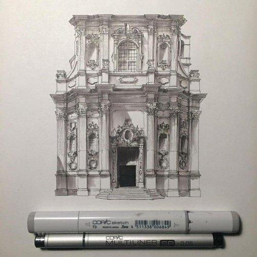Миниатюрные, но невероятно детализированные эскизы архитектурных сооружений Европы (17 фото)