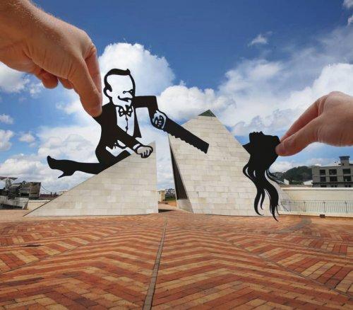 Креативные снимки с бумажными силуэтами (18 фото)